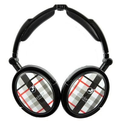 Extreme Noise Cancelling Foldable Headphones (Black Plaid) - OPEN BOX