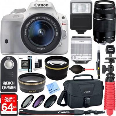 EOS Rebel SL1 White DSLR Camera + 18-55mm 75-300mm Dual Lens & Accessory Bundle