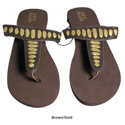 FOM277 Sandals Brown/Gold Size Small