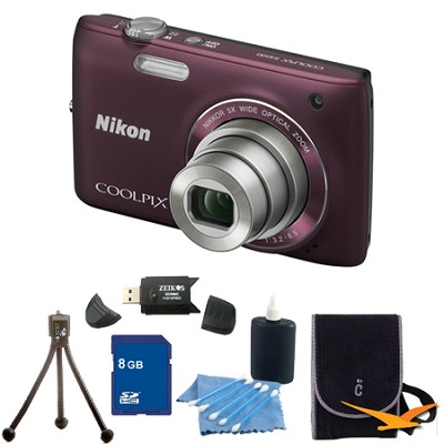 COOLPIX S4100 14MP Plum Digital Camera 8GB Bundle