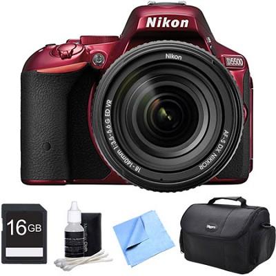D5500 Red DSLR Camera 18-140mm Lens and 16GB Bundle
