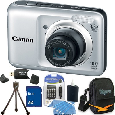 PowerShot A800 10MP Silver Digital Camera 8GB Bundle
