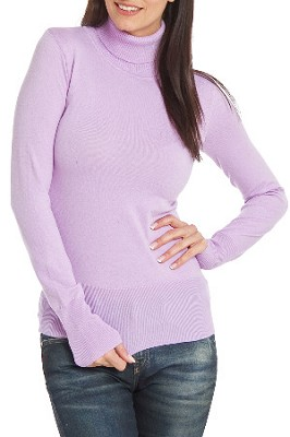 Turtleneck Sweater for Women in Lavender - Size: Large