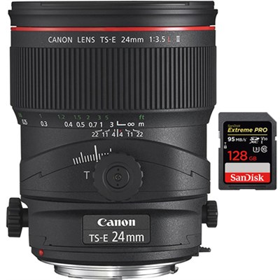 TS-E 24mm f/3.5L II Tilt-Shift Manual Focus Lens w/ 128GB Memory Card