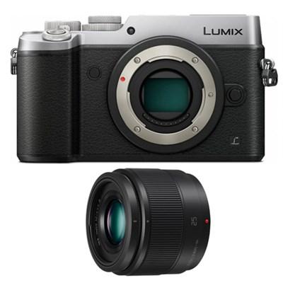DMC-GX8SBODY LUMIX GX8 4K (DSLM) Silver Camera and LUMIX Black 25mm Lens Bundle