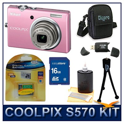 COOLPIX S570 12MP Digital Camera (Pink) w/ 16 GB Memory Kit