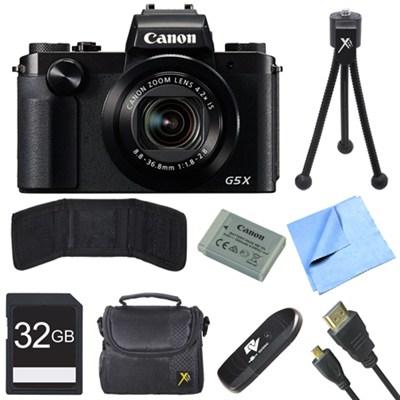 PowerShot G5 X Digital Camera with 4.2x Optical Zoom Deluxe 32GB Bundle - Black
