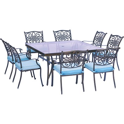 Traditions 9PC Dining Set: 8 Chairs (Blue) and 60  Square Glass Table