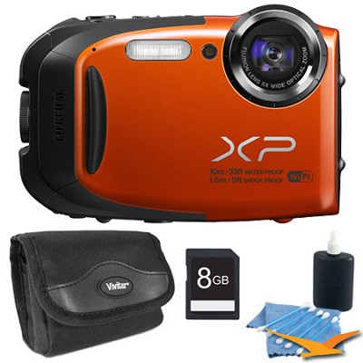 FinePix XP70 Waterproof/Shockproof Digital Camera Orange 8GB Kit