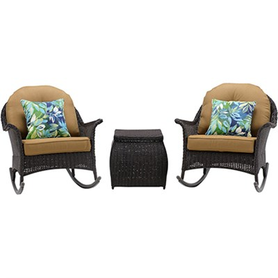 San Marino 3pc Set: 2 Woven Rocking Chairs One Side Table