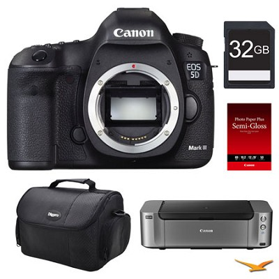 5D Mark II DSLR Camera (Body), 32GB, Printer Bundle