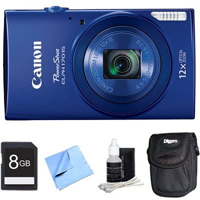 PowerShot ELPH 170 IS 20MP 12x Opt Zoom Digital Camera - Blue 8 GB Bundle