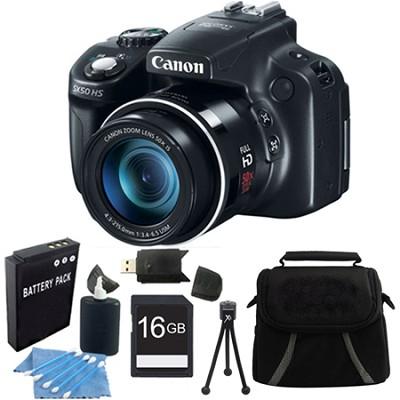 Powershot SX50 HS 50x Zoom High-Performance Camera 16GB Bundle
