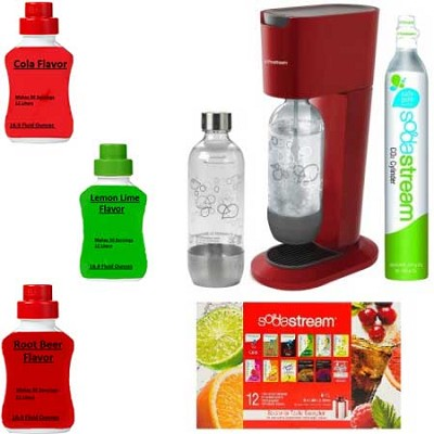 GENESIS Soda Maker Kit -Bundle with Cola, Root Beer, and Lemon Lime Sodamixes
