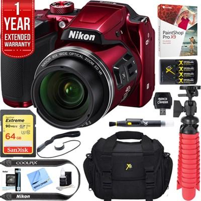 COOLPIX B500 16MP 40x Optical Zoom Wi-Fi Digital Camera (Red) + 64GB Bundle