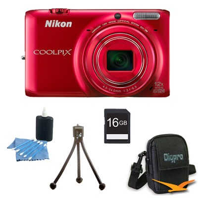 COOLPIX S6500 16 MP Digital Camera with 12x Zoom 16 GB Bundle (Red)