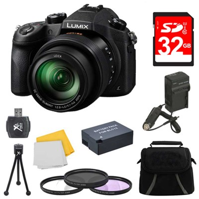 LUMIX FZ1000 4K QFHD/HD 16X Long Zoom Digital Camera 32GB Bundle (Black)