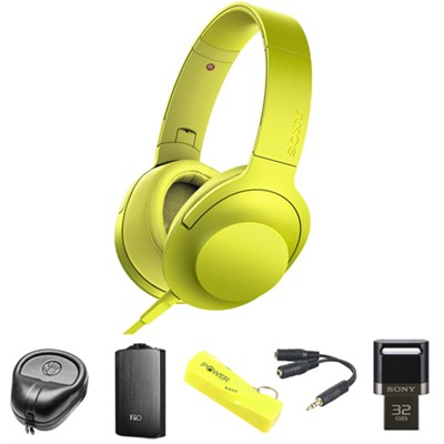 Premium Hi-Res On-Ear Stereo Headphone Yellow MDR100AAP/Y w/ FiiO A3 Amp Bundle