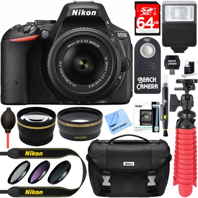 D5500 DSLR Camera with AF-S 18-55mm VR II Lens + Accessory Bundle (Black)