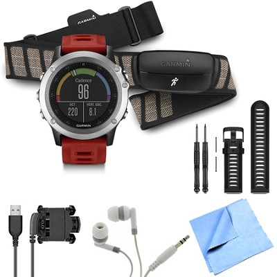 fenix 3 Multisport Training GPS Watch with Heart Rate Monitor Black Band Bundle