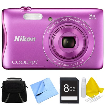 COOLPIX S3700 20.1MP 720p HD Video Digital Camera - Pink Bundle