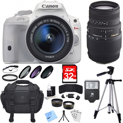 EOS Rebel SL1 Digital SLR Camera White with 18-55mm and 70-300mm Lens Bundle