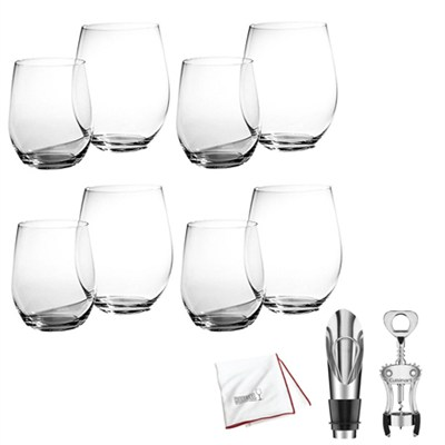 'O' Mixed Cabernet/ViognierTumbler - Set of 8 Glasses + Wine Lover's Gift Set