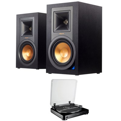 Powered Monitor Speakers with Bluetooth (Pair) R-15PM w/ Stereo Turntable System