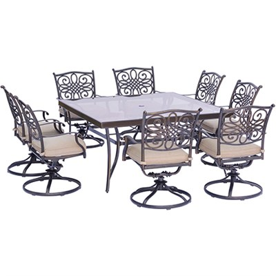 Traditions 9PC Dining Set: 8 Swivel Chairs and 60  Square Glass Table