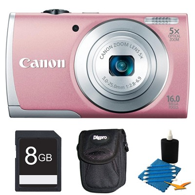 PowerShot A2600 Pink 16MP Digital Camera 8GB Bundle