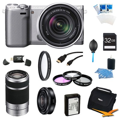 NEX-5RK/S Compact Camera with 18-55 + SEL 55-210, 20mm f.28 Lens Bundle