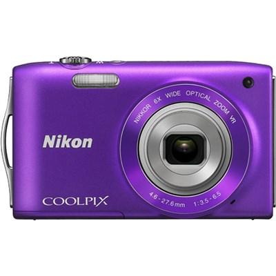 COOLPIX S3300 16MP 6x Opt Zoom 2.7 LCD - Purple, Refurbished