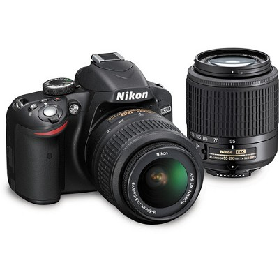 D3200 24.2MP DSLR Camera Kit with 18-55mm VR and 55-200mm DX Lenses (Black)