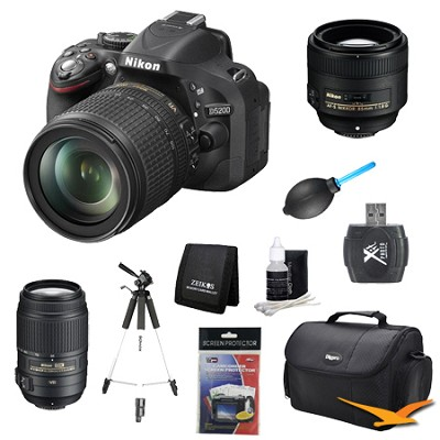 D5200 DX-Format Digital SLR with 18-105mm, 55-300mm and 85mm Lens Kit
