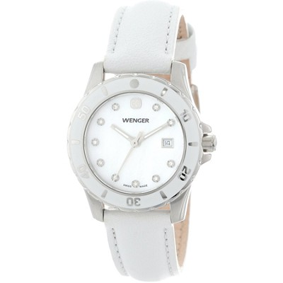 Ladies' Sport Watch - White Mother-of-Pearl Dial/White Genuine Leather Strap