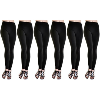 6-Pack Fleece Lined Leggings Midnight Black One Size