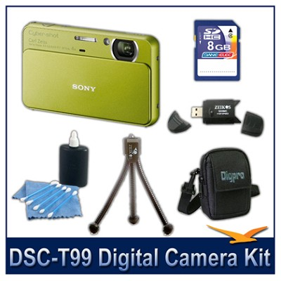 DSC-T99 14MP Green Touchscreen Digital Camera with 8GB Card, Case, and more