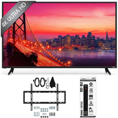 E50u-D2 - 50-inch 4K Ultra HD SmartCast LED Smart TV Slim Flat Wall Mount Bundle