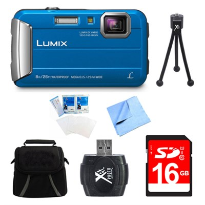 LUMIX DMC-TS30 Active Tough Blue Digital Camera 16GB Bundle