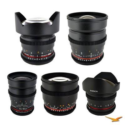 Sony Alpha 5 Cine Lens Kit-14mm T3.1, 24mm T1.5, 35mm T1.5, 85 mm T1.5, 8mm T3.8