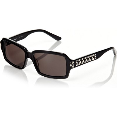 Black Frame with Grey Lenses and Studded Detail Sunglasses