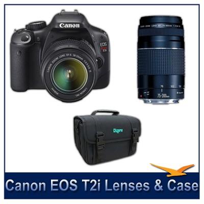 EOS Digital Rebel T2i 18MP CMOS Digital SLR w/ 18-55 IS Lens and 75-300 III Lens