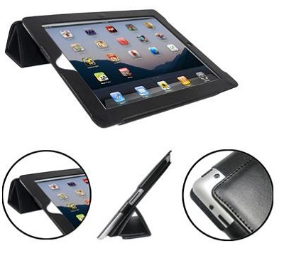 Executive Black Leatherette Case for New iPad2