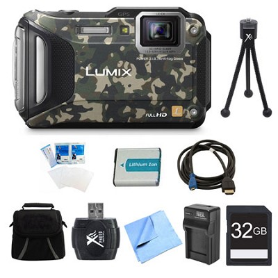 LUMIX DMC-TS6 WiFi Tough Camouflage Digital Camera 32GB Bundle