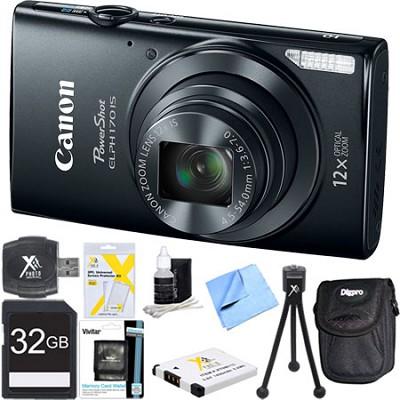 PowerShot ELPH 170 IS 20MP 12x Opt Zoom Digital Camera - Black 32 GB Bundle