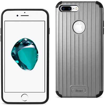 Rugged Metal Texture Hybrid Case, Ridged Back - For iPhone 7 - Black/Grey