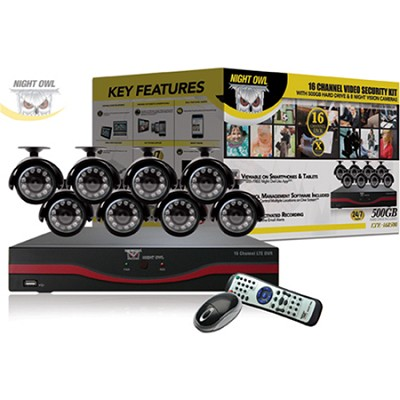 16 Channel LTE D1 DVR w/ 500GB Hard Drive, 8x Indoor/Outdoor Night Vision Camera