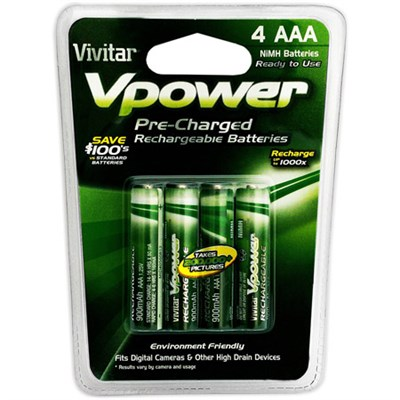 4pc 900 NiMH Pre-Charged Rechargeable AAA Batteries