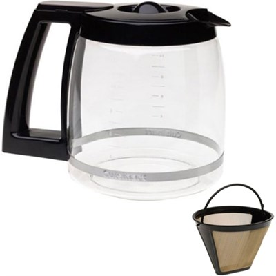 12 Cup Replacement Carafe Black and Gold Tone Filter