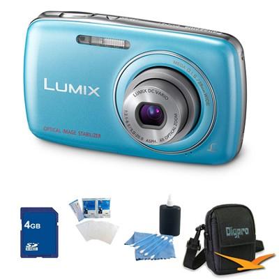 Lumix DMC-S1 12MP Compact Blue Digital Camera w/ 720p HD Video 4GB Bundle